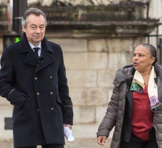 Michel Denisot et Christiane Taubira sur le tournage de...