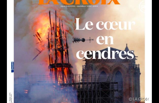 """Une de """"La Croix"""" du mardi 16 avril 2019"""
