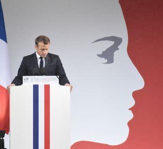 Emmanuel Macron après sa déclaration à la préfecture de...