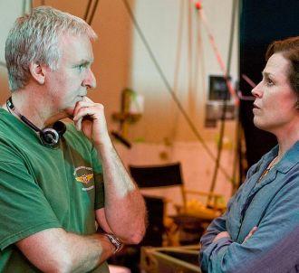 James Cameron et Sigourney Weaver sur le tournage d''Avatar'
