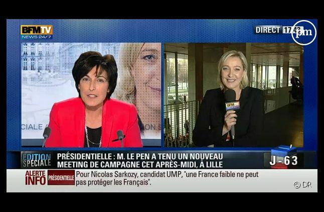 Marine Le Pen et Ruth Elkrief, le 19 février 2012.