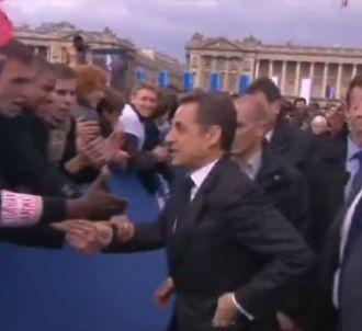 Nicolas Sarkozy place de la Concorde, à Paris.