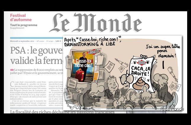 Le Monde se moque des Unes de Libération