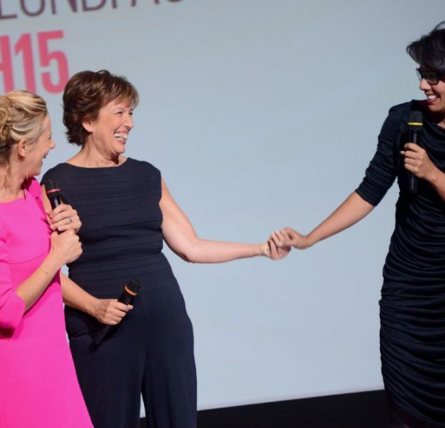 Les nouvelles bonnes copines de D8 : Laurence Ferrari, Roselyne Bachelot et Audrey Pulvar.