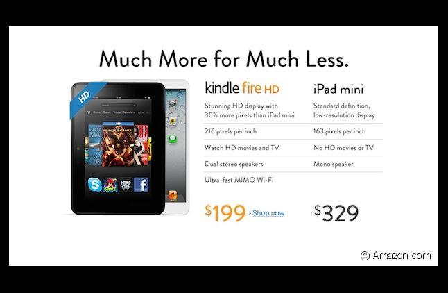 Amazon tacle l'iPad dans une publicité comparative avec son Kindle Fire