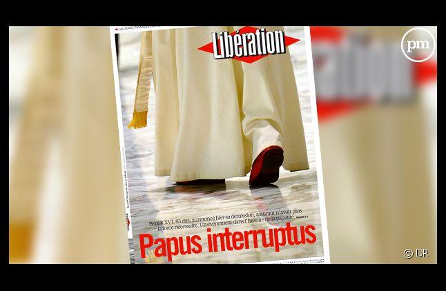 La Une de Libération consacrée à la démission de Benoît XVI.
