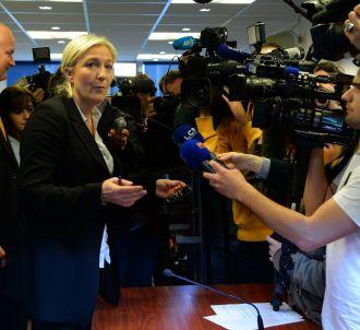 Marine Le Pen face aux journalistes, le 27 mai 2014.