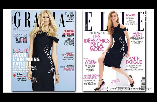 La même robe Dior en Une de Grazia et Elle cette semaine