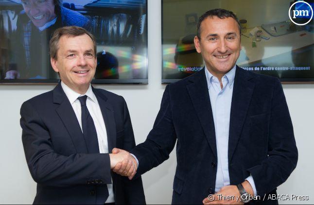 Alain Weill (NextRadioTV) et Pascal Houzelot.