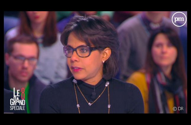 "Audrey Pulvar émue dans ""Le Grand 8"" après les attaques à ""Charlies Hebdo""."
