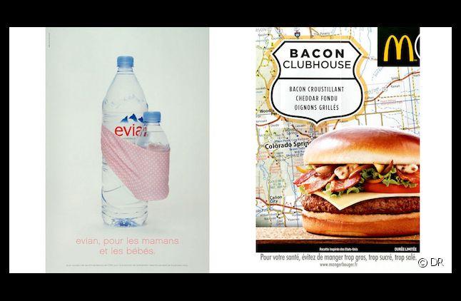 Les publicités Evian et McDonalds