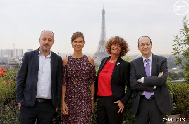 De gauche à droite : Louis Dreyfus (président du directoire du groupe Le Monde), Aurore Domont (présidente de Media.Figaro), Laurence Bonicalzi Bridier (présidente de MPublicité et RégieObs) et Marc Feuillée (directeur général du groupe Le Figaro).