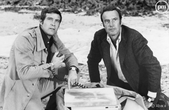 """Lee Majors (à gauche) et Richard Anderson dans """"L'homme qui valait trois milliards""""."""
