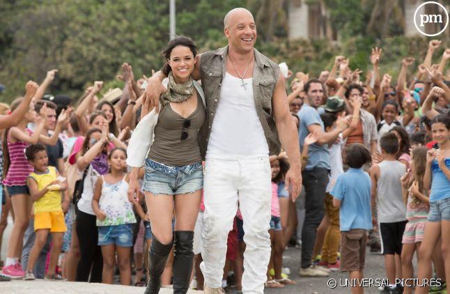 """Michelle Rodriguez et Vin Diesel dans """"Fast & Furious 8"""""""