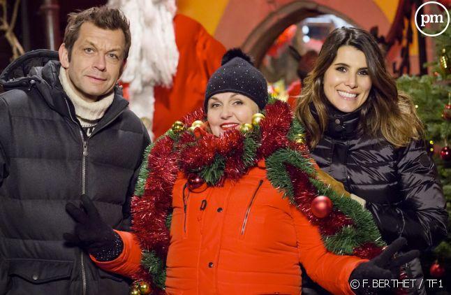 """Laurent Mariotte, Valérie Damidot et Karine Ferri (""""Le merveilleux village de Noël"""")"""
