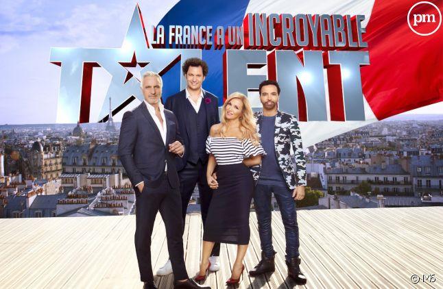 """Le jury et l'animateur de """"La France a un incroyable talent"""" sur M6."""