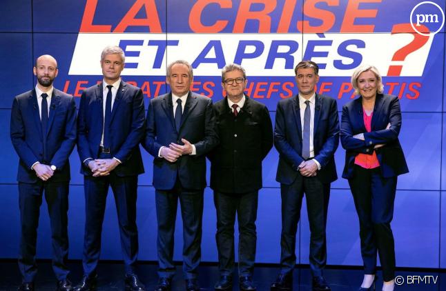 Les chefs des six principaux partis réunis sur le plateau de BFMTV