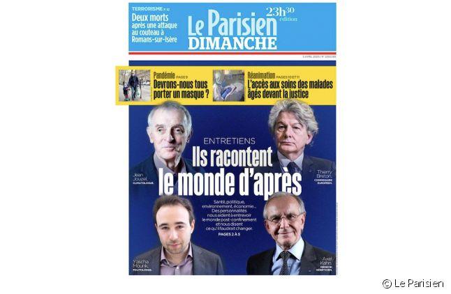 """""""Ils racontent le monde d'après"""" en Une du """"Parisien"""""""
