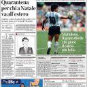 """Diego Maradona en Une du """"Corriere della Sera""""."""