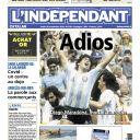 "Diego Maradona en Une de ""L'indépendant""."