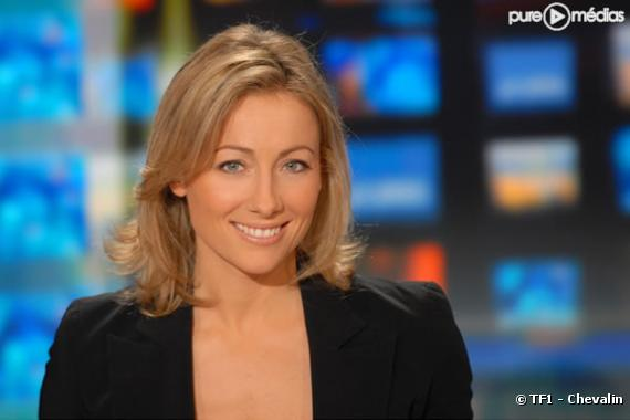 anne sophie lapix sur le plateau du journal de tf1 photo. Black Bedroom Furniture Sets. Home Design Ideas