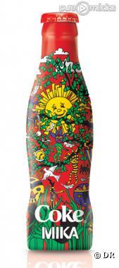 """La bouteille """"Coca-Cola"""" dessinée par Mika"""
