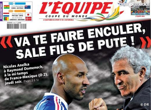 """La Une de """"L'Equipe"""" du 19 juin 2010"""