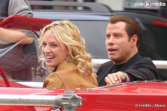 """Uma Thurman et John Travolta sur le tournage de """"Be Cool"""" en 2004"""