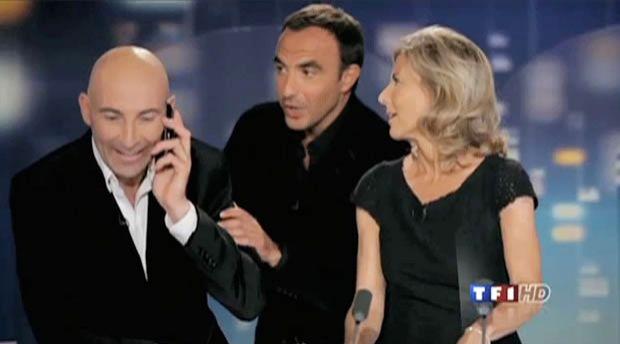 Nicolas Canteloup entouré de Claire Chazal et Nikos Aliagas pour