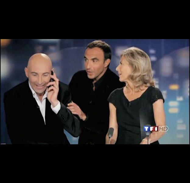 """Nicolas Canteloup entouré de Claire Chazal et Nikos Aliagas pour """"20h, c'est Canteloup""""."""