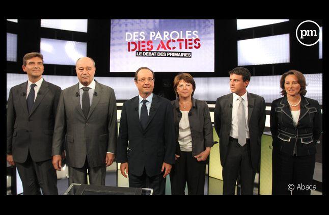 Les candidats à la primaire socialiste lors du premier débat.