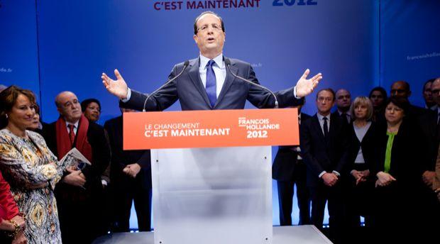 François Hollande, dans son nouveau QG de campagne.
