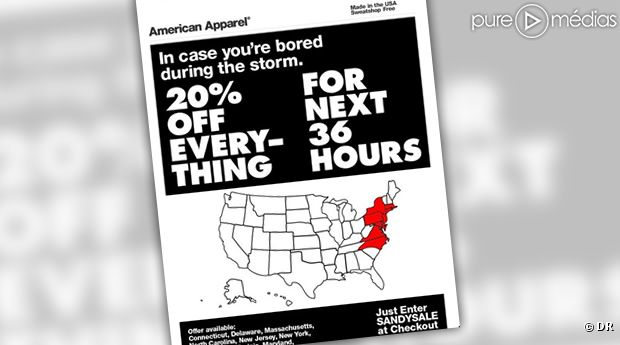 "american apparel s ""hurricane sandy sale"" Yesterday, these three retailers all hit the twitterverse with gung-ho hurricane sandy sales promotions president's choice here, the gap here and american apparel here."
