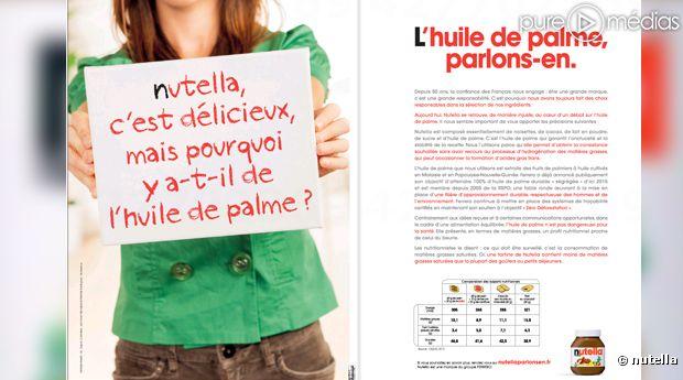 Double page de pub' dans la presse quotidienne pour Nutella