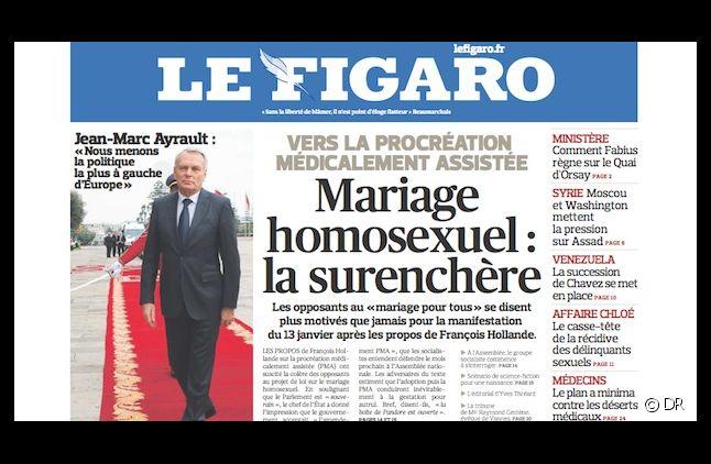 """La Une du Figaro du 14 décembre 12 : """"Mariage homosexuel : la surenchère"""""""