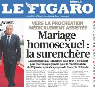 La Une du Figaro du 14 décembre 12 : 'Mariage homosexuel...