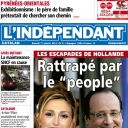 La Une de L'Indépendant, le 11 janvier 2014