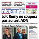 La Une de Nice-Matin, le 11 janvier 2014
