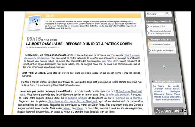 Tribune de Daniel Schneidermann sur Arrêt sur images