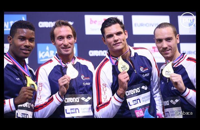 <span>Mehdy Metella, Fabien Gilot, Florent Manaudou, Jeremy Stravius ont remporté le 4X100m</span>
