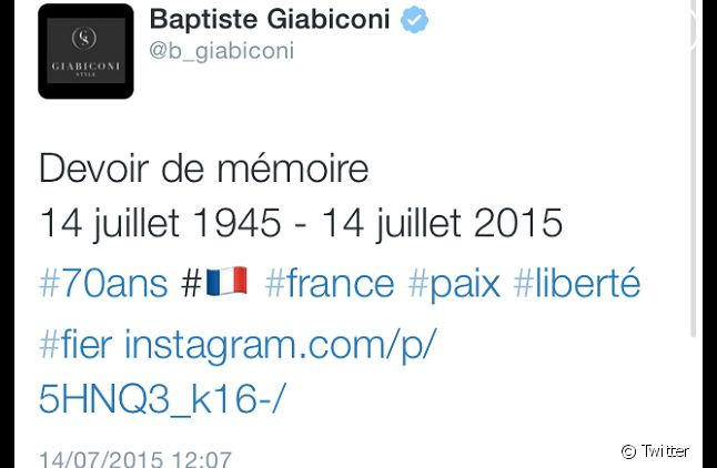 Le tweet de Baptiste Giabiconi (Capture)