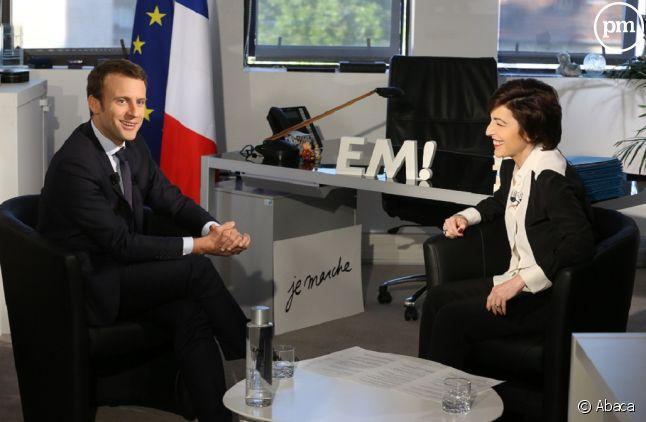 Emmanuel Macron face à Ruth Elrkief pendant la campagne présidentielle
