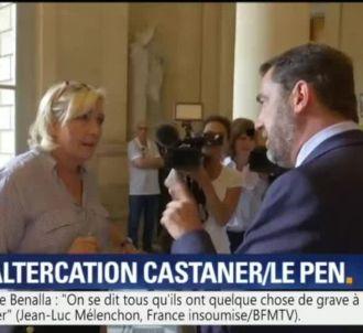 Marine Le Pen alpague Christophe Castaner devant les...