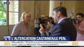 Affaire Benalla : Marine Le Pen alpague violemment Christophe Castaner devant les caméras