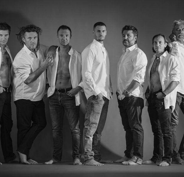 "Franck Sémonin, Olivier Delacroix, Alexandre Devoise, Baptiste Giabiconi, Bruno Guillon, Philippe Candeloro et Satya Oblette dans ""Stars à nu"""