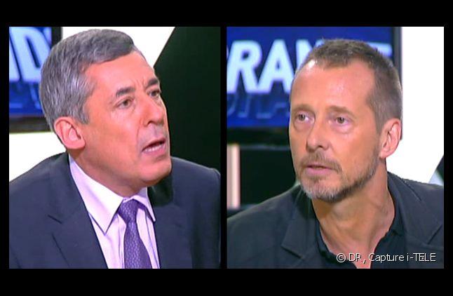 Henri Guaino et Joseph Macé-Scaron, sur le plateau d'i-TELE.