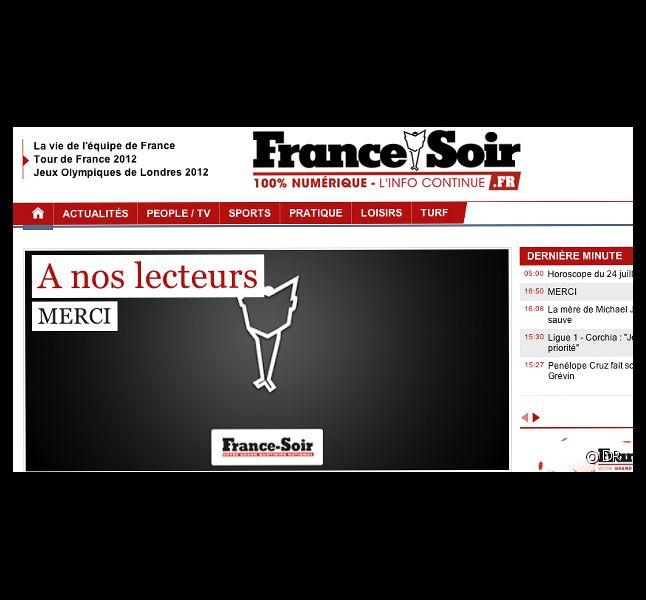 Le site FranceSoir.fr s'apprête à fermer ses portes.