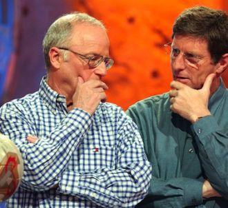 Jean-Michel Larqué et son compère Thierry Roland en 2002.