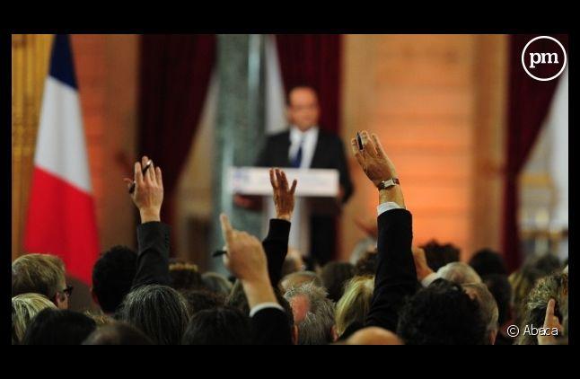 François Hollande face à la presse, en janvier 2013.