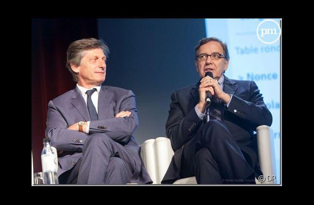 """Nicolas de Tavernost et Nonce Paolini côte à côte lors du colloque """"NPA Conseil"""" de 2012"""